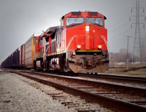 Red-orange train moving on track